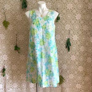 J Jill Linen Coral Print Shift Dress